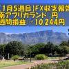【1月5週目】南アフリカランド/円のFX週間損益報告(+10,244円)